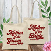 Retro Bridal Party Custom Tote Bags for Mother of the Groom & Mother of the Bride