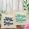 Retro Bridal Party Custom Tote Bags for Maid of Honor & Matron of Honor