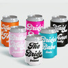 Retro Bachelorette Party Custom Can Coolers in Pink, Black, Orange, White and Aqua Pool Blue