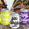 Retro New Orleans Bachelorette Party Custom Can Coolers in Purple, Yellow Gold, Black and White