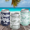 Retro Bachelorette Party Custom Can Coolers in Navy, Mint Green and Gray