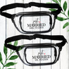 Just Married Fanny Packs - Clear Custom Fanny Packs for Women + Men - Personalized Honeymoon Mr. and Mrs. Bags + Gifts for Newlyweds