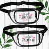 Deco Flamingo Custom Fanny Packs for Women - Clear Zippered Waist Belt Bags - Personalized Bum Bags for Final Flamingle Bachelorette