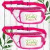 Let's FIesta Custom Clear Zippered Fanny Packs for Women - Personalized Waist Belt Bags for Final Fiesta Bachelorette or Mexico Girls Trip