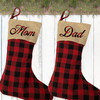 Personalized Plaid Christmas Stocking - Rustic Country Farmhouse Christmas Home Decor - Custom Stockings for the Family