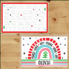 Mod Holiday Rainbow Custom Laminated Placemat - Kids Personalized Dry Erase Writing Worksheet Mats - Wipe Off Christmas Placemats for Toddlers