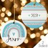 Boho Rainbow Blue Personalized Christmas Ornament 2021 - Keepsake Girls Christmas Ornaments