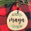 Holly Leaves Personalized Wood Christmas Ornament - Rustic Wooden Holiday Ornaments with Names