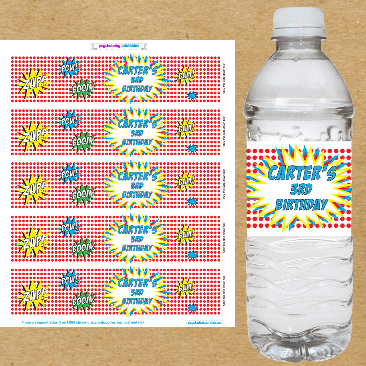 30 Personalised Water Bottle Labels For Any Occasion Or Any Colour