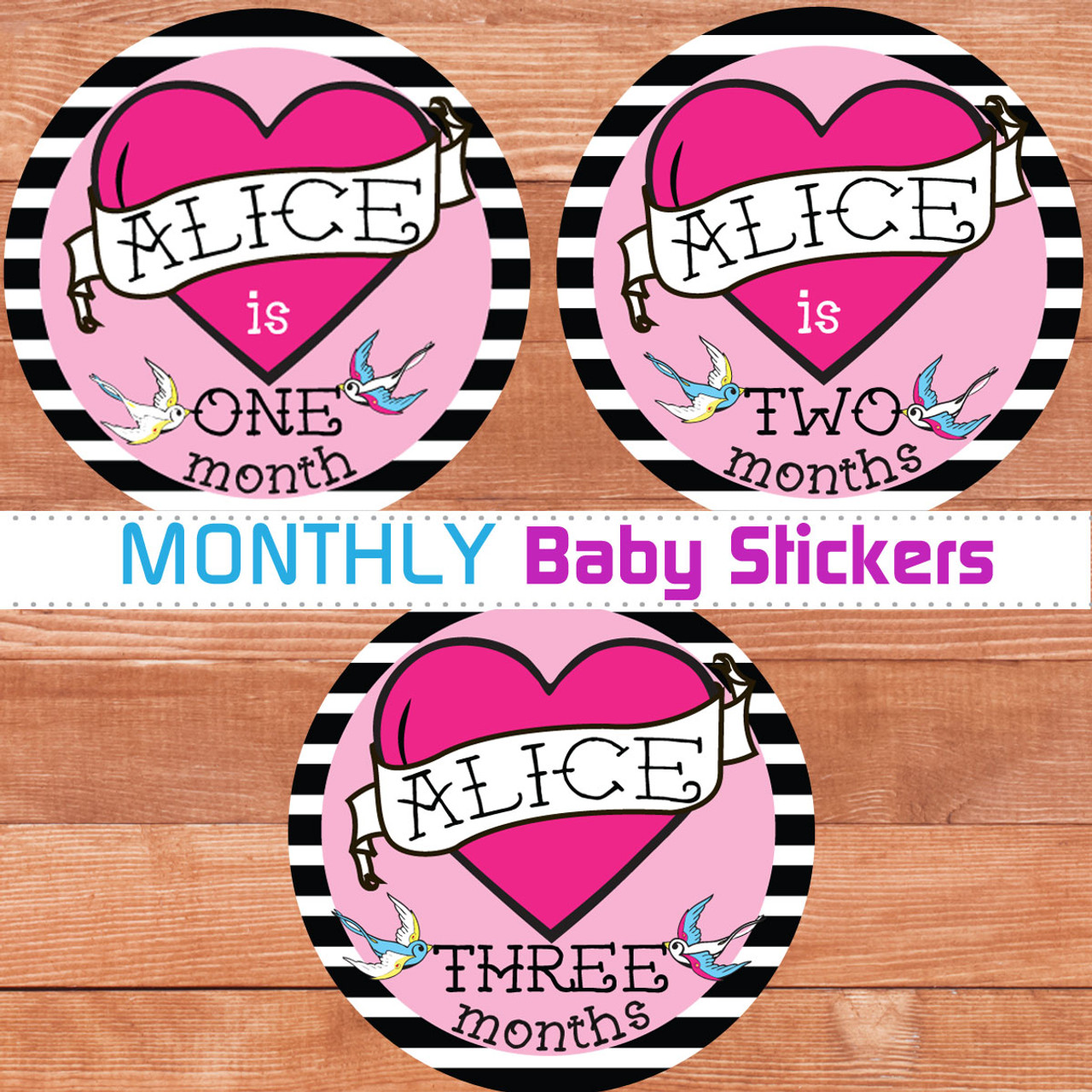 personalized tattoo heart baby month stickers pink