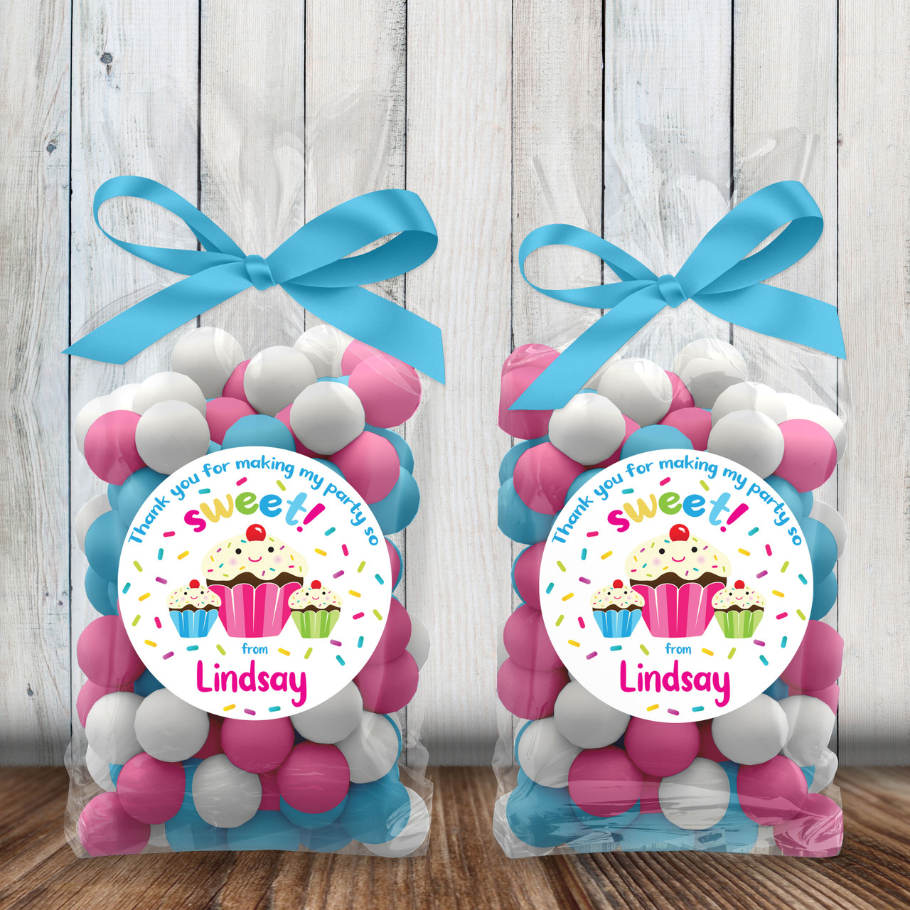 Personalized Party Favor Stickers Sweet Sprinkles Cupcake