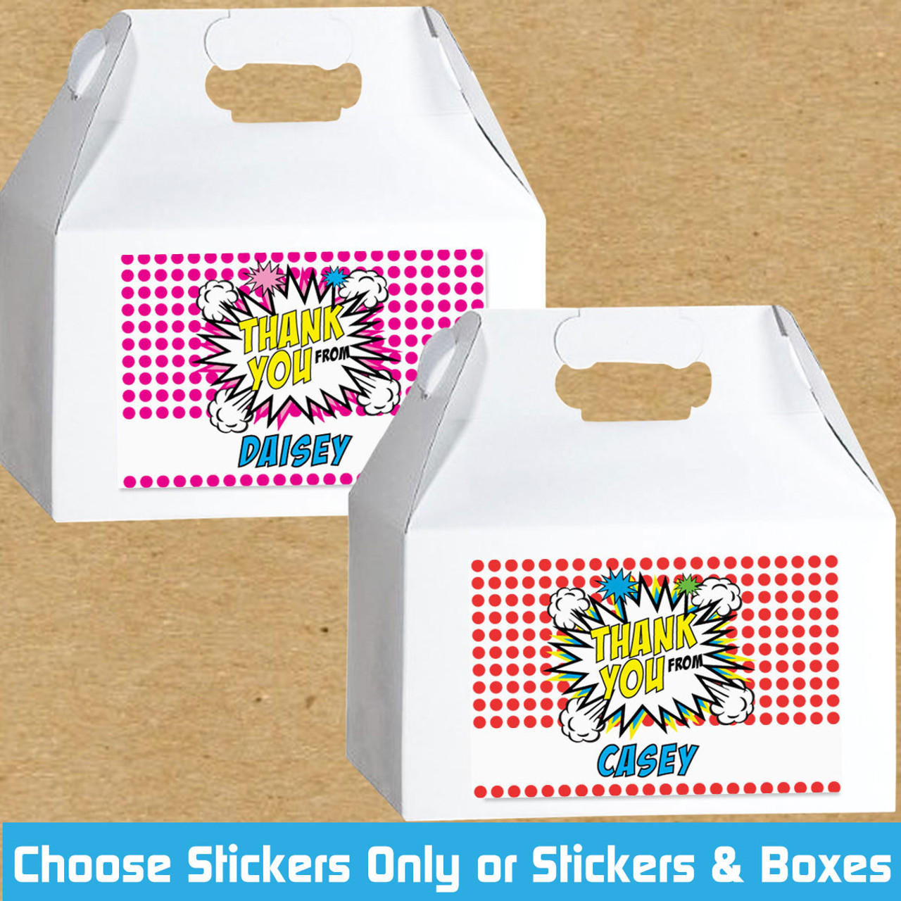 Personalized Pop Art Birthday Favor Labels Gable Boxes