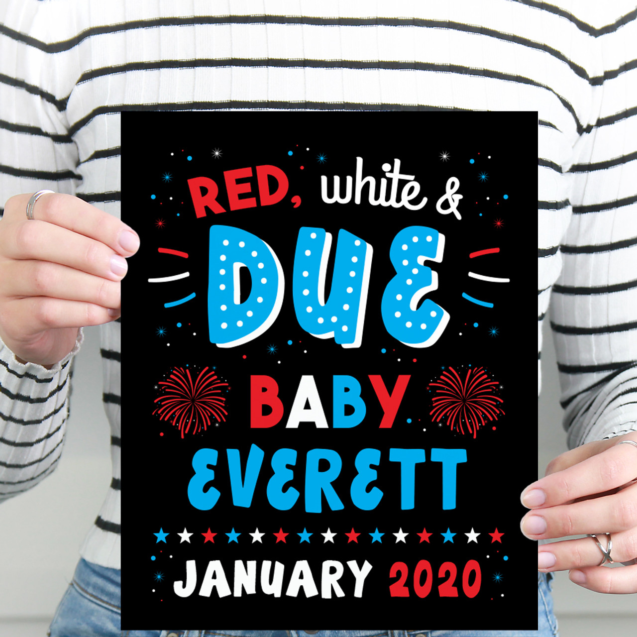 photograph about Printable Baby Announcement titled Fourth of July Being pregnant Announcement Indicator