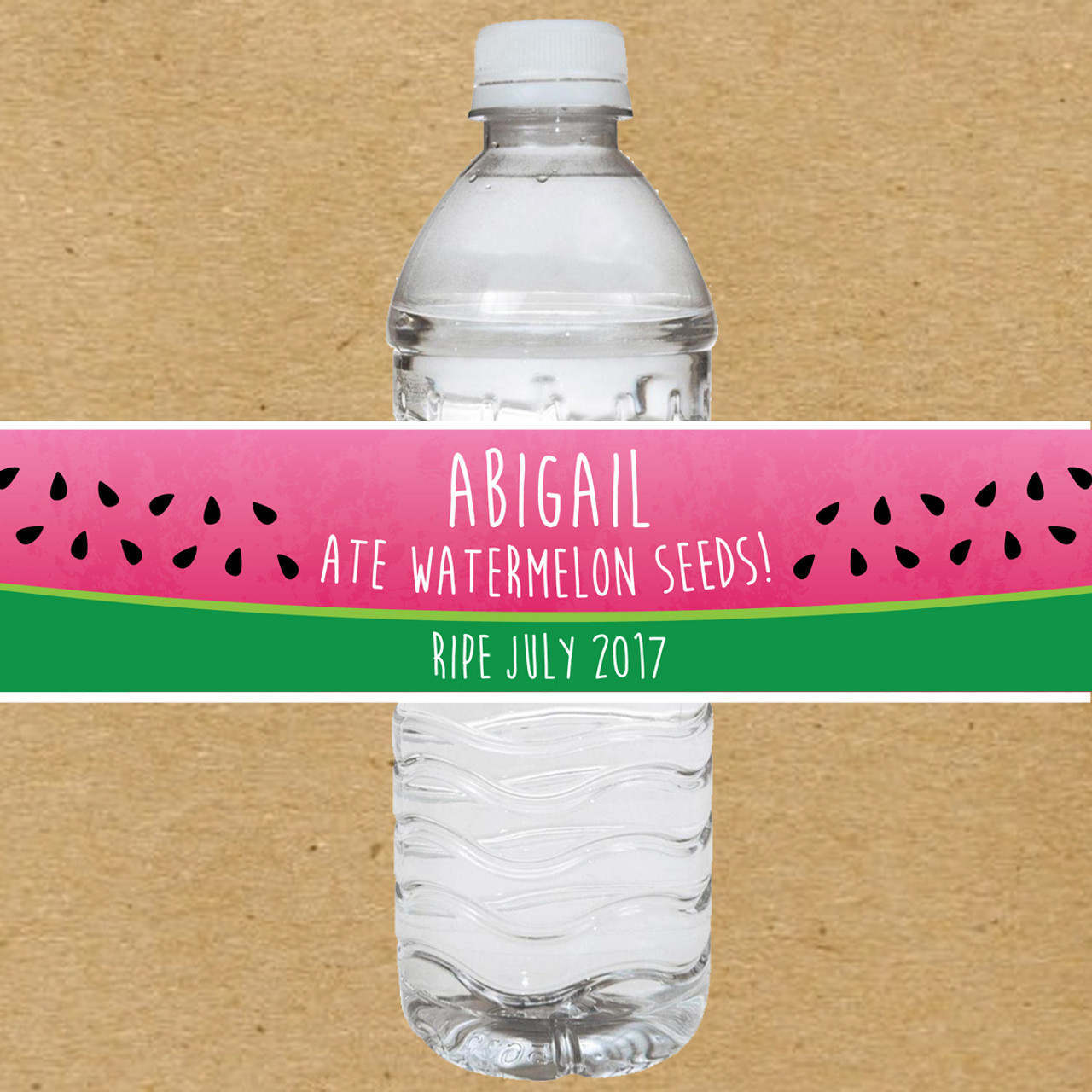 Personalized Watermelon Seeds Baby Shower Water Bottle Labels