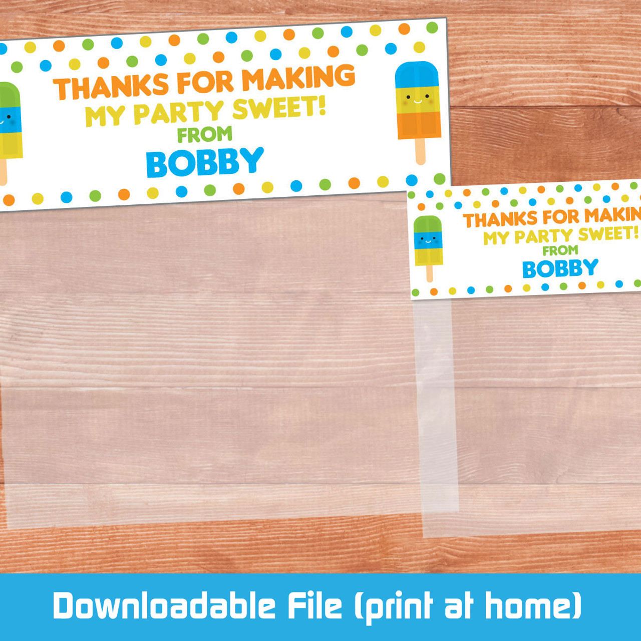 photo relating to Printable Bag Toppers titled Printable Blue Popsicle Bag Toppers (Electronic Record)