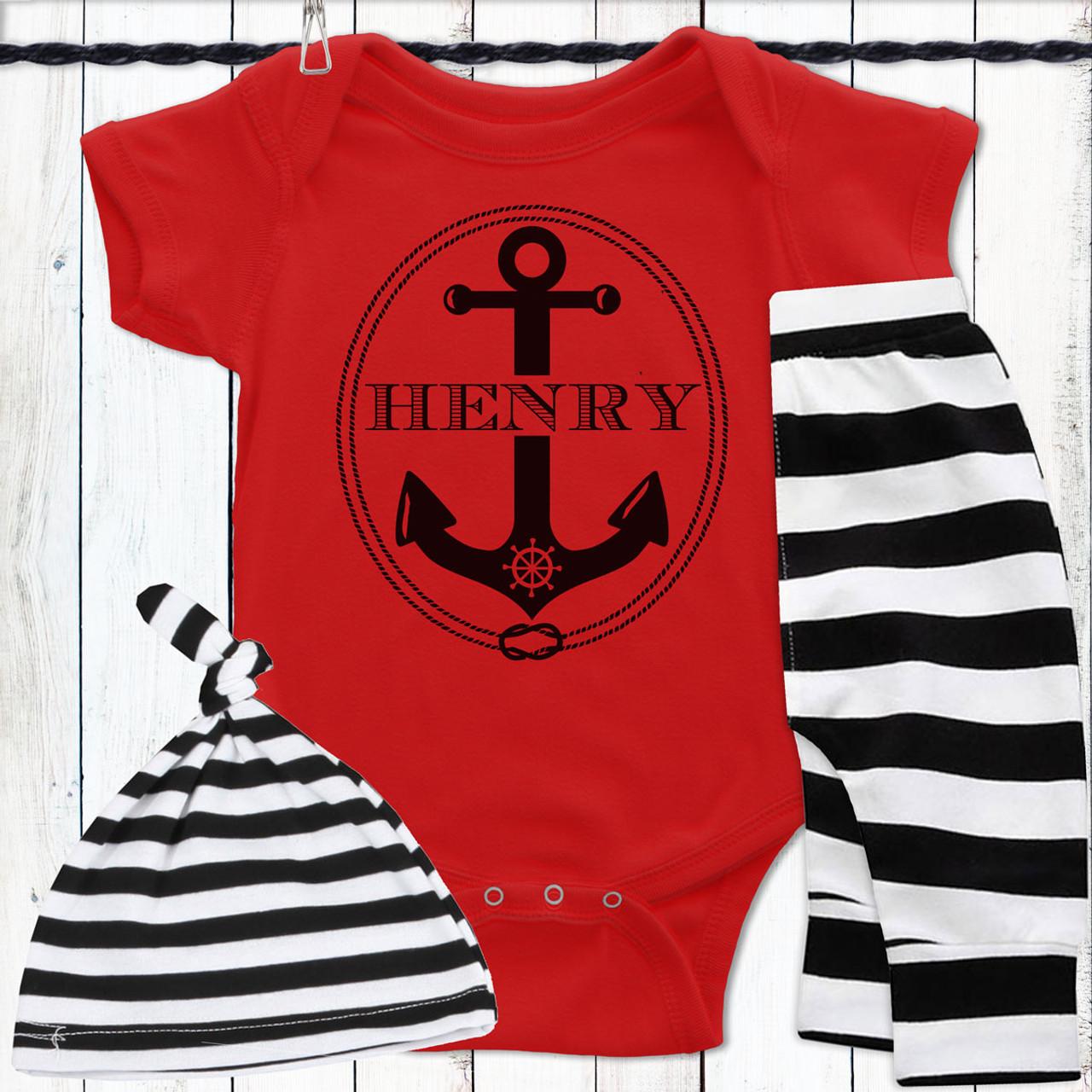 99e2b5893b8c6 Personalized Ahoy, Baby! Gift Set - Nautical Anchor Baby Clothing