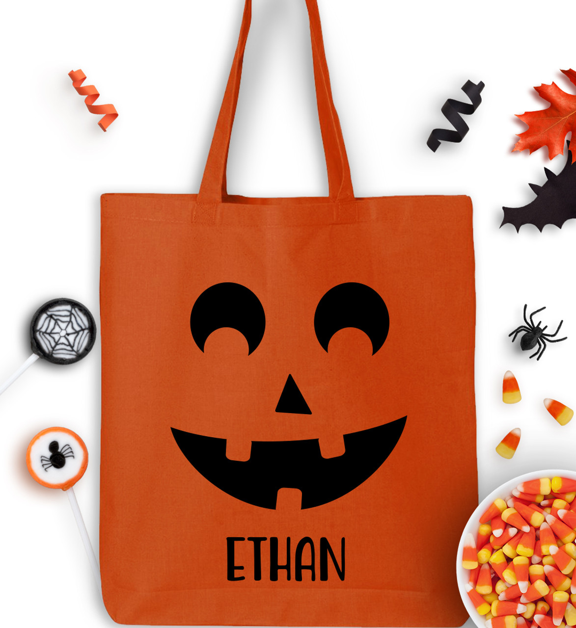Halloween Trick Or Treat Bags Personalized.Personalized Pumpkin Face Trick Or Treat Bag