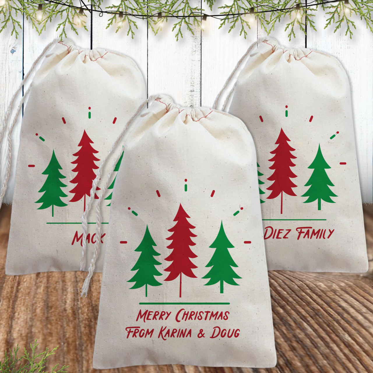 Custom Christmas Gifts.Personalized Gift Bag Holiday Spirit Trees
