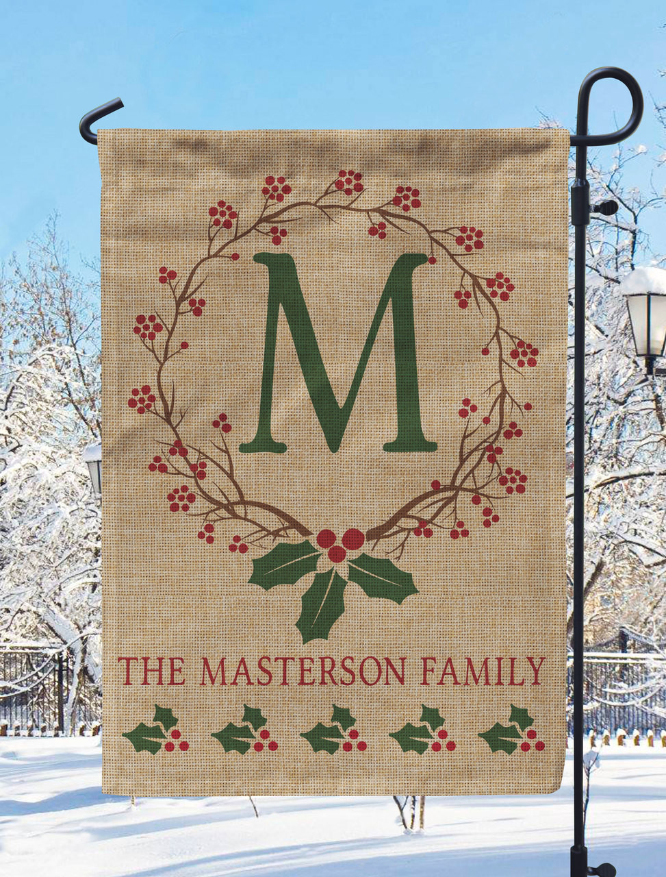 Personalized Holiday Holly Burlap Garden Flag