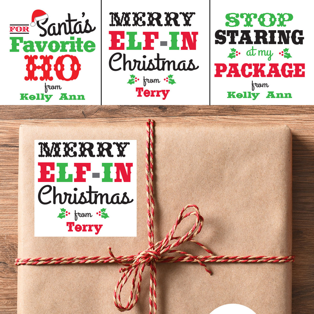 Personalized Christmas Gifts.Personalized Merry Elf In Christmas Gift Stickers