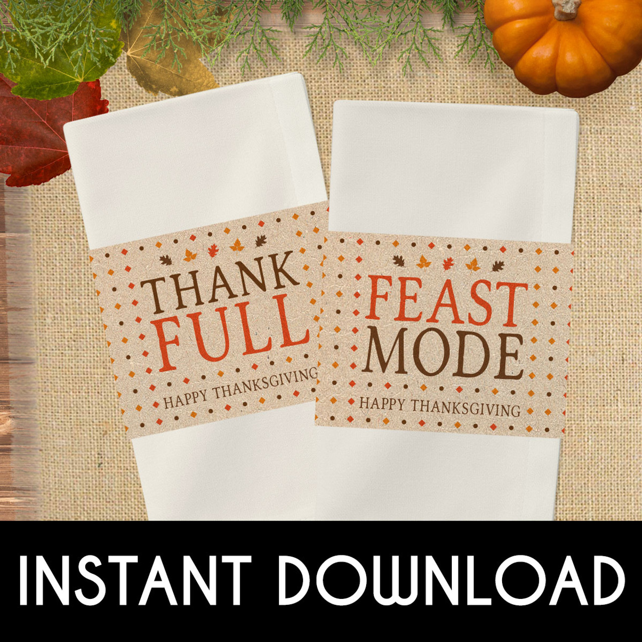 picture regarding Printable Napkin Rings called Printable Feast Manner Thanksgiving Napkin Rings (Instantaneous Down load)