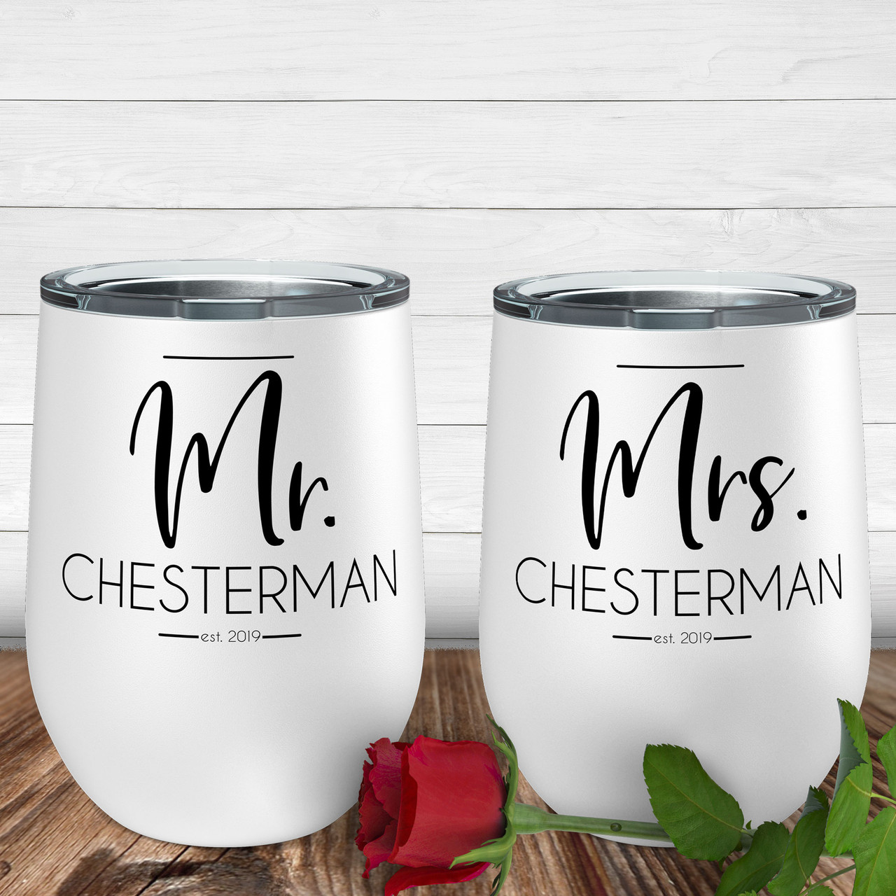 Personalized Modern Mr And Mrs Wine Tumbler