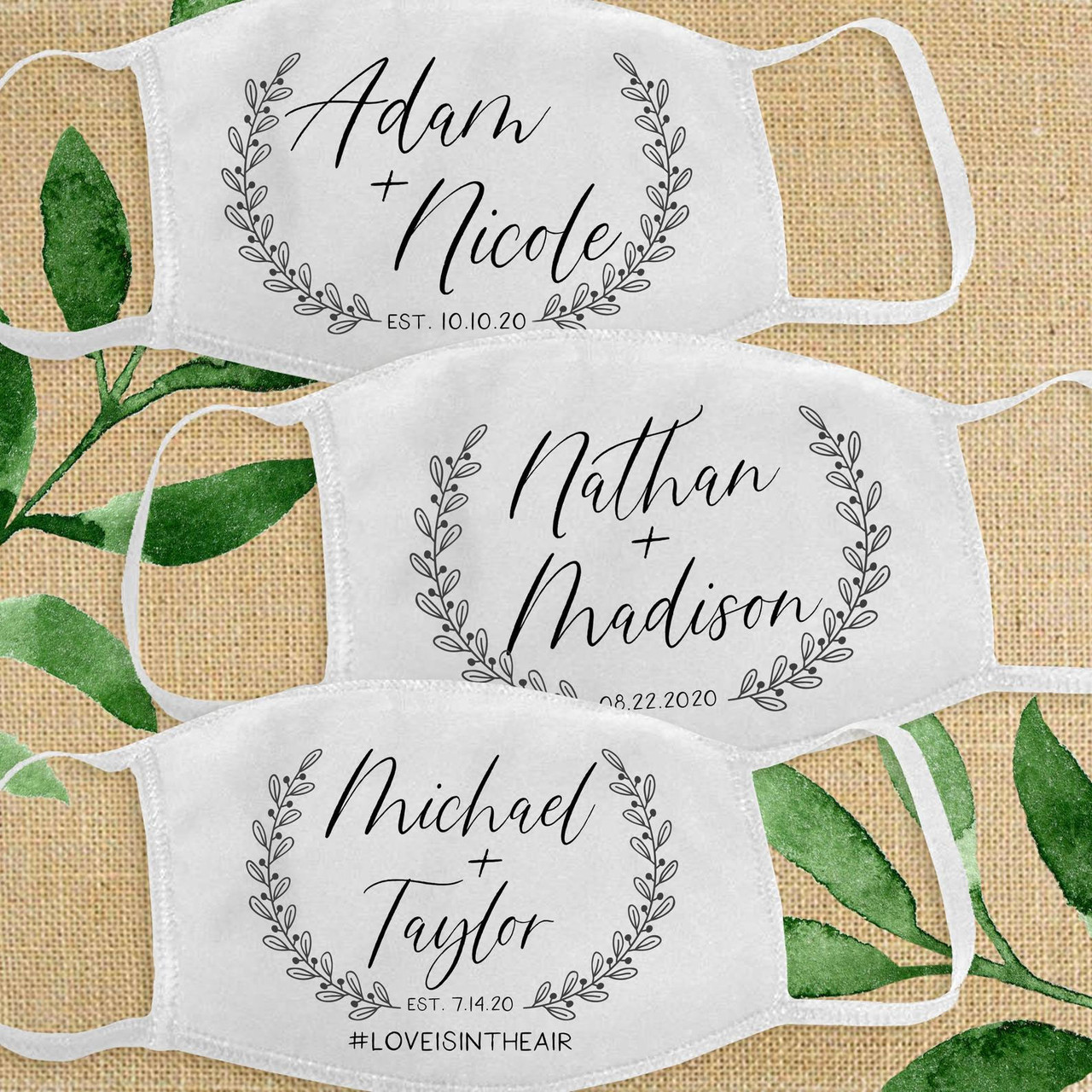 "Shop Custom Face Masks for Weddings, Guests and Parties"">