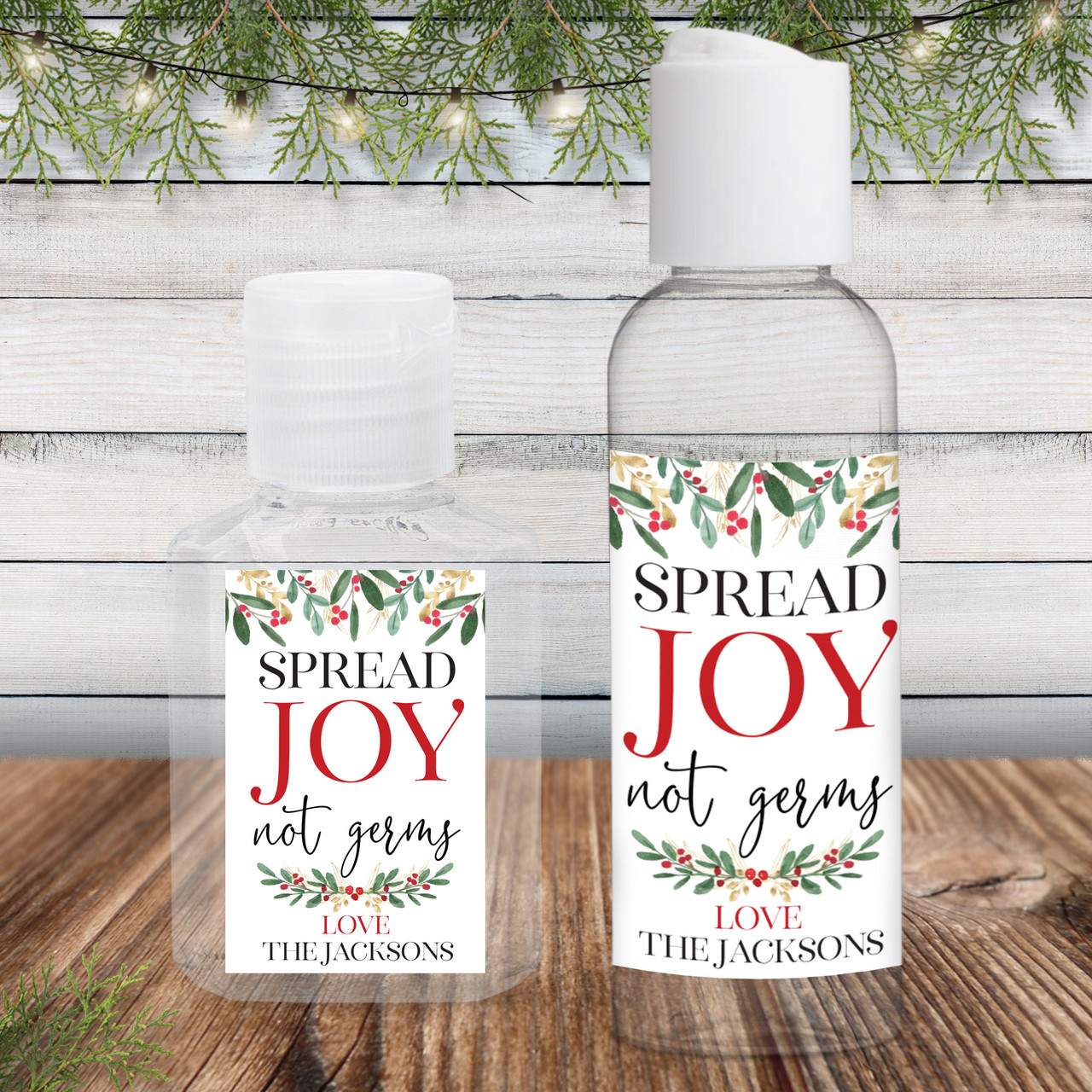 Christmas Party Favor Spread Joy not germs Hand Sanitizer Label 20 Christmas Hand Sanitizer Sticker