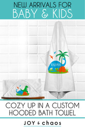 Personalized Hooded Bath Towels for Baby & Toddlers