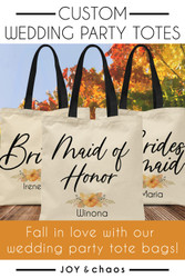 """Fall"" in Love with our Custom Wedding Party Tote Bags"