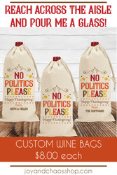 Custom Thanksgiving Wine Bags