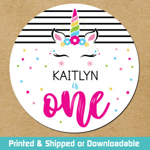 First Birthday Favor Stickers and Tags