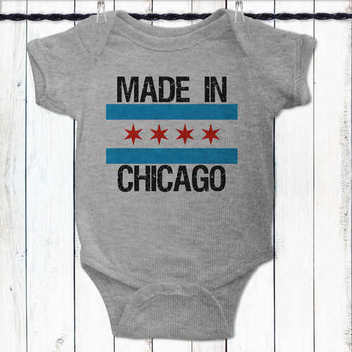 Personalized Made In Chicago Baby Shirt