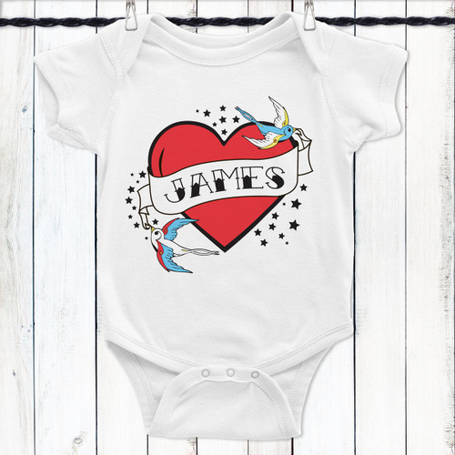 Personalized Flying Sparrow Tattoo Heart Baby Shirt