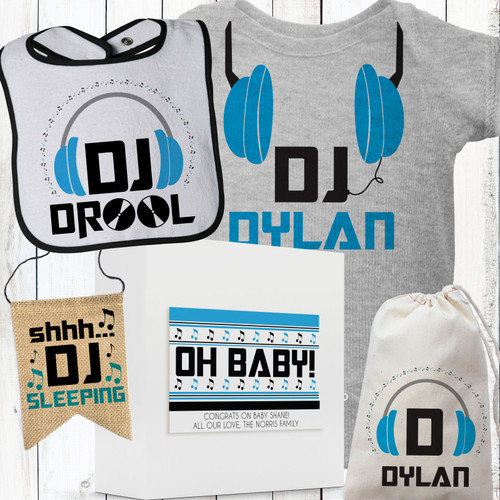 Personalized Tiny Tunes DJ Baby Gift Box Set