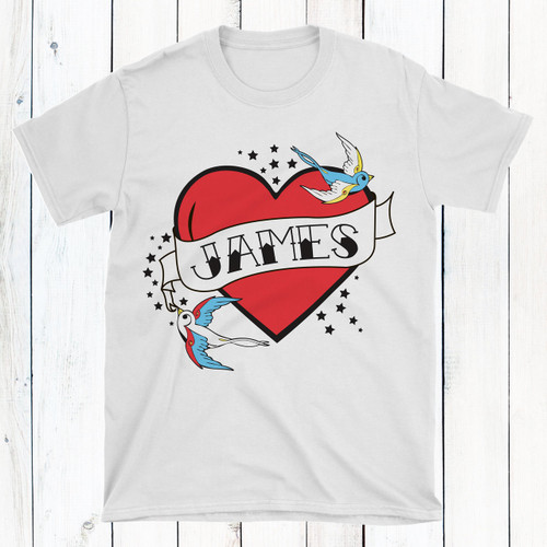 Personalized Flying Sparrow Tattoo Heart T-Shirt