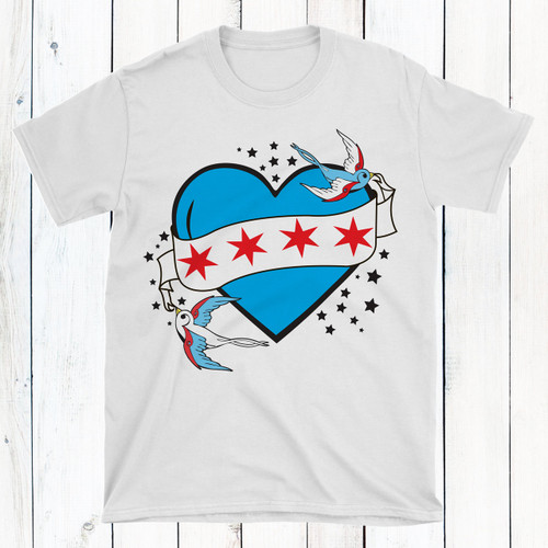 Personalized Chicago Tattoo Heart T-Shirt