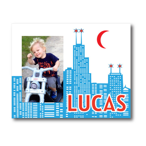 Personalized Chicago Skyline Picture Frame Blue