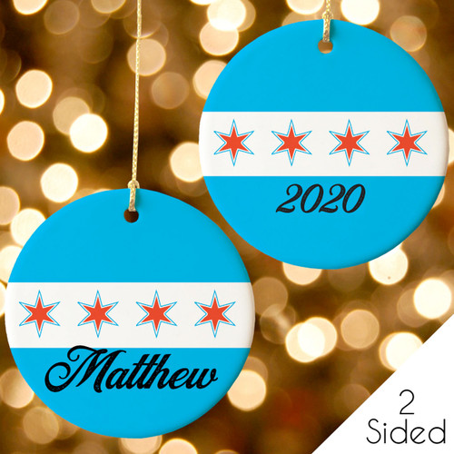 Personalized Chicago Flag Christmas Ornament 2020