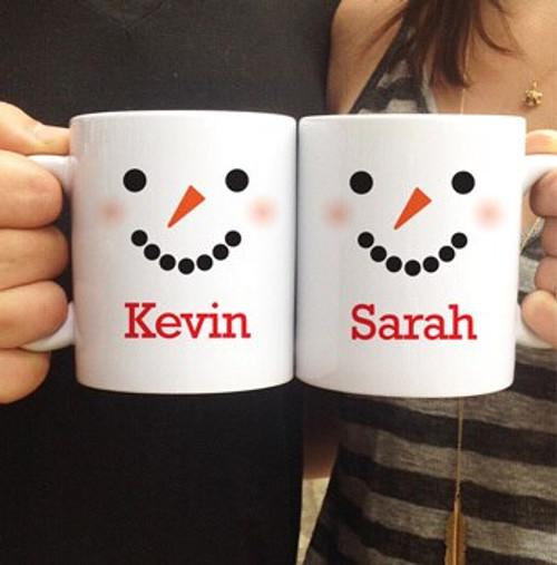 Personalized Snowman Mug Set for Christmas