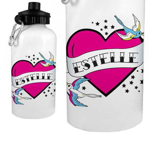 Personalized Flying Sparrow Tattoo Heart Water Bottle Pink