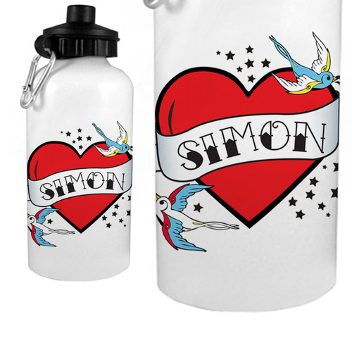 Personalized Flying Sparrow Tattoo Heart Water Bottle