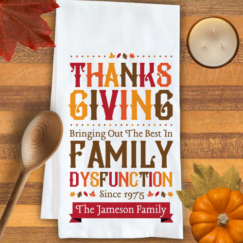 Personalized Family Kitchen Towel: Thanksgiving
