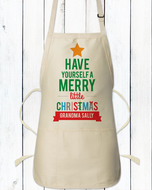 Personalized Merry Little Christmas Apron