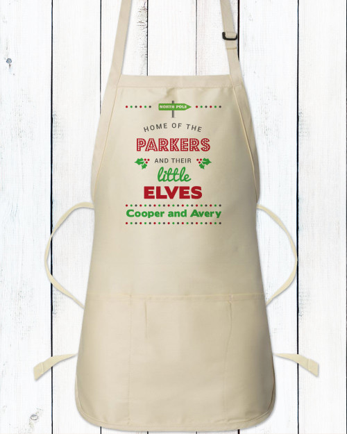 Personalized North Pole Christmas Apron