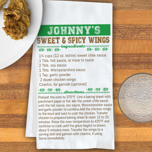 Personalized Game Day Football Recipe Kitchen Towel