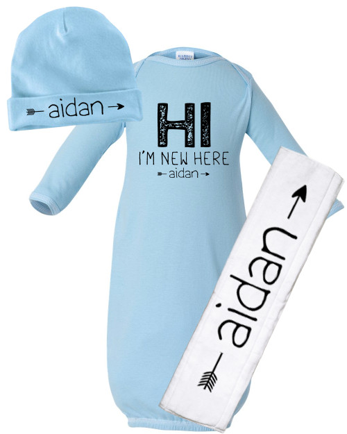 "Personalized I'm ""New"" Here Baby Gown Set Blue"