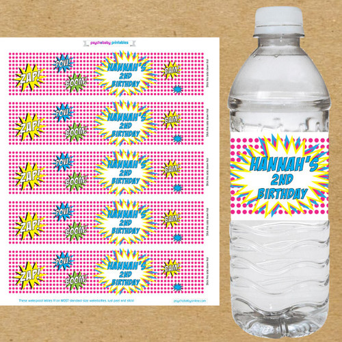 Superhero Birthday Water Bottle Labels