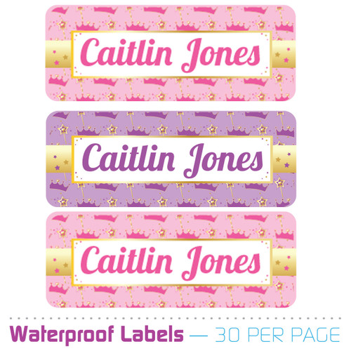 princess birthday party water bottle labels