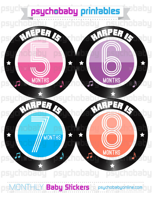 personalized rockin record baby month stickers pastels